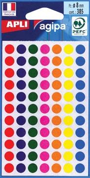 Agipa étiquettes ronds en pochette diamètre 8 mm, couleurs assorties, 385 pièces, 77 par feuille