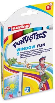 Edding craies grasses pour fenêtres, etui cartonné, 5 craies de couleurs assorties