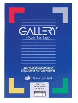 Gallery étiquettes blanches, ft 105 x 37 mm (l x h), coins carrés, boîte de 1.600 étiquettes