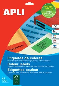 Apli Etiquettes colorées ft 210 x 297 mm (l x h), rouge, 100 pièces, 1 par feuille
