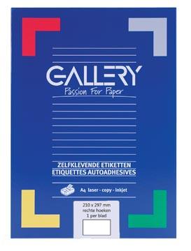 Gallery étiquettes blanches, ft 210 x 297 mm (l x h), coins carrés, 1 par feuille