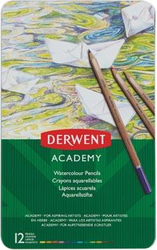 Derwent crayon aquarellable Academy , boîte métallique de 12 pièces en couleurs assorties