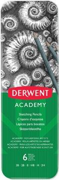 Derwent crayon graphite Academy, boîte métallique de 6 pièces: 3B-2B-B-HB-H-2H
