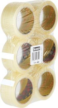 Scotch ruban adhésif d'emballage Classic, ft 50 mm x 66 m, transparent, paquet de 6 rouleaux