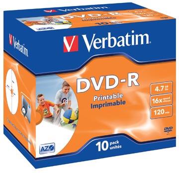 Verbatim DVD enregistrable DVD-R, imprimable, boîte de 10 pièces, emballées individuellement (Jewel Case)
