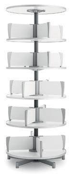 Moll colonne rotative Multifile, 5 étages, hauteur 195 cm, jusq'à 120 classeurs, blanc