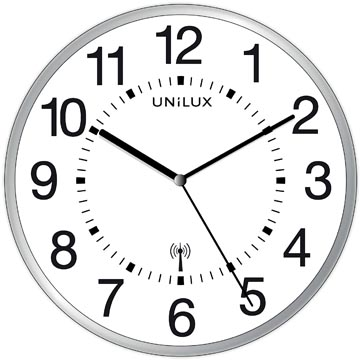 Unilux horloge Maxi Wave, 37,5 cm, radiogestuurd, gris et blanc