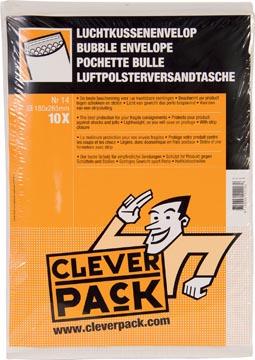 Cleverpack enveloppes à bulles d'air, ft 180 x 265 mm, avec bande adhésive, blanc, paquet de 10 pièces