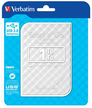 Verbatim disque dur 3.0 Store 'n' Go, 1 To, blanc rayé