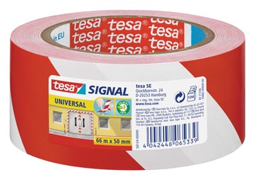 Tesa ruban de signalisation, ft 50 mm x 66 m, rouge/blanc