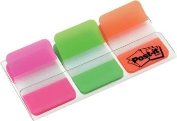 Post-it Index Strong, ft 25,4 x 38 mm, set de 3 couleurs (rose, vert et orange), 22 cavaliers par couleur