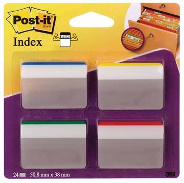 Post-it Index Strong, ft 50,8 x 38 mm, pour dos susp set de 24 cavaliers, 4 couleurs, 6 cavaliers par cou