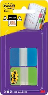Post-It Index Strong, ft 25,4 x 38,1 mm, 8 tabs par couleur, 2 couleurs par distributeur