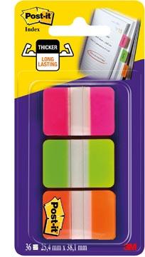 Post-it Index Strong, ft 25,4 x 38 mm, blister avec 3 couleurs (rose, vert et orange), 12 cavaliers par