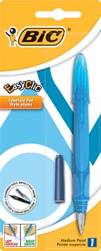 Bic stylo plume EasyClic couleurs assorties, sous blister