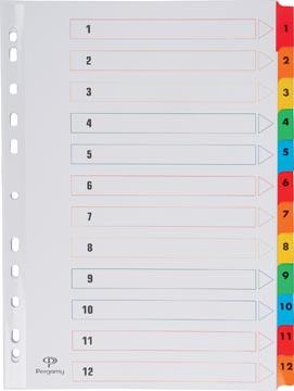 Pergamy intercalaires avec page de garde, ft A4, perforation 11 trous, couleurs assorties, set 1-12