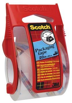 Scotch dérouleur avec ruban adhésif d'emballage, ft 50 mm x 20 m, transparent