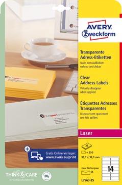 Avery étiquettes transparentes QuickPEEL ft 99,1 x 38,1 mm (l x h), 350 pièces, 14 par feuille
