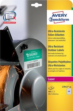 Avery L7911-10 étiquettes ultra résistantes ft 45,7 x 21,2 mm (b x h), 480 étiquettes, blanc
