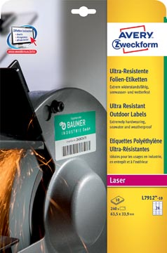 Avery étiquettes polyéthylène ultra-résistantes ft 63,5 x 33,9 mm (l x h), boîte de 240 étiquettes