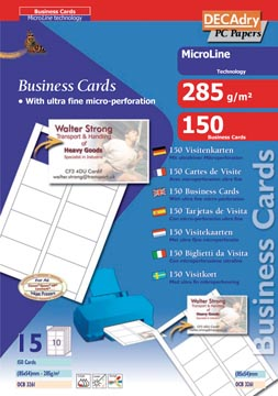 Decadry cartes de visite MicroLine ft 85 x 54 mm, 285 g/m², 150 cartes