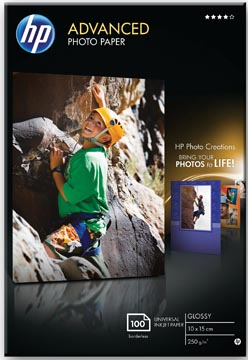 HP Advanced papier photo, ft 10 x 15 cm, 250 g, paquet de 100 feuilles, brillant
