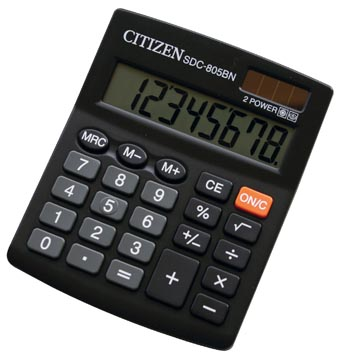 Citizen Allrounder calculatrice de bureau, SDC-805BN, noir