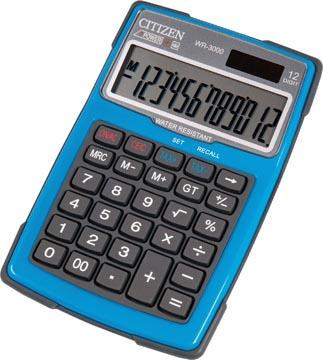 Citizen calculatrice robuste, Imperméable à l'eau et à la poussière, bleu