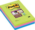 Post-it Super Sticky notes, ft 102 x 152 mm, 90 feuilles, pacquet de 3 blocs en couleurs assorties