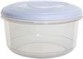 Whitefurze boîte de conservation ronde 1 litre, transparent avec couverle blanc